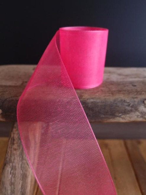 Hot Pink Sheer Ribbon with Monofilament Edge (3 sizes)