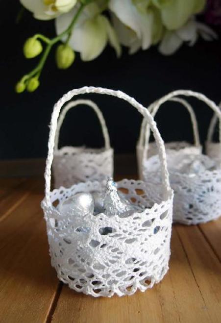 Mini Lace Favor Baskets, Round, LS189-82 | Wholesale Lace Baskets, Packaging Decor