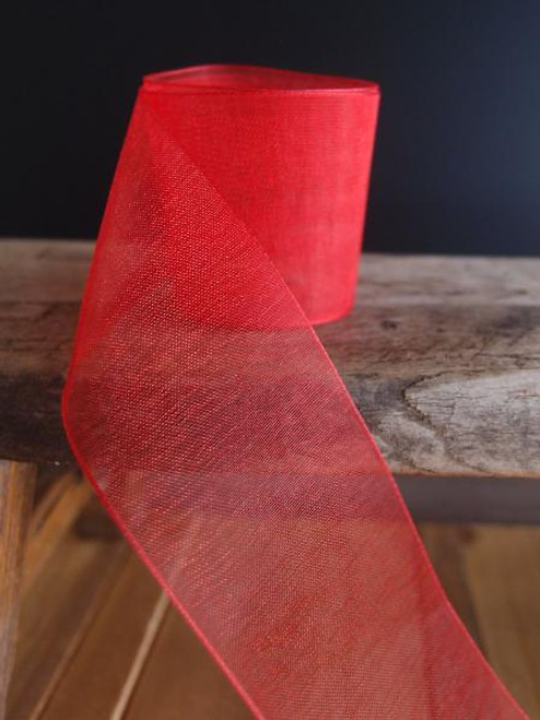 Red Sheer Ribbon with Monofilament Edge (6 sizes)