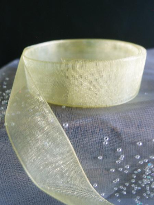 Yellow Maize Sheer Ribbon with Monofilament Edge (3 sizes)