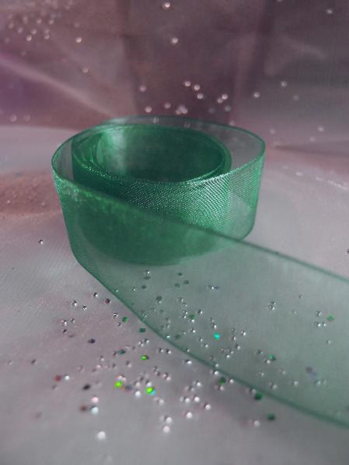 Hunter Green Sheer Ribbon with Monofilament Edge (3 sizes)