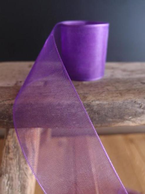 Purple Sheer Ribbon with Monofilament Edge (3 sizes)