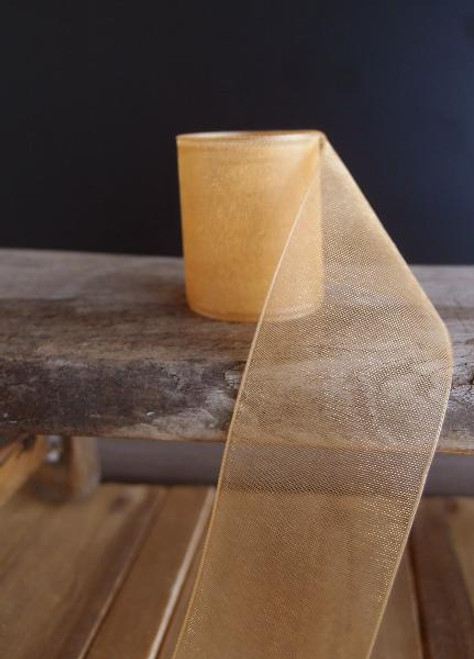 Gold Sheer Ribbon with Monofilament Edge (3 sizes)