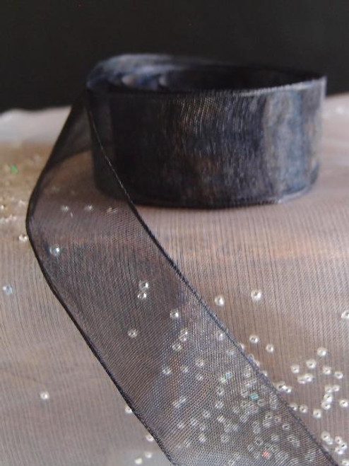 Black Sheer Ribbon with Monofilament Edge (3 sizes)