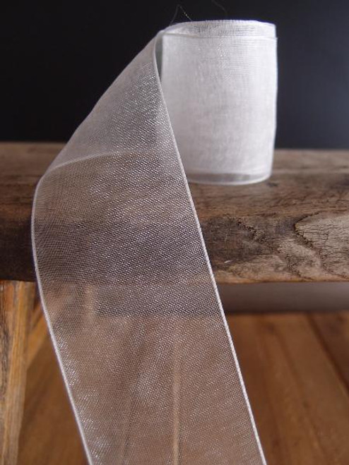 Silver Sheer Ribbon with Monofilament Edge (5 sizes)