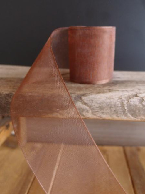 Chocolate Sheer Ribbon with Monofilament Edge (3 sizes)