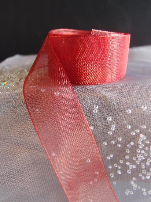 Crimson Sheer Ribbon with Monofilament Edge (3 sizes)