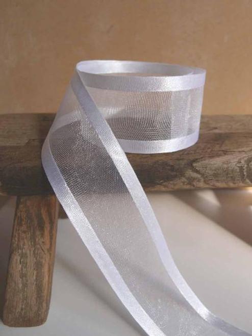 White Sheer Ribbon with Satin Edge (6 sizes)