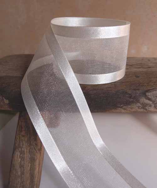 Ivory Sheer Ribbon with Satin Edge (6 sizes)
