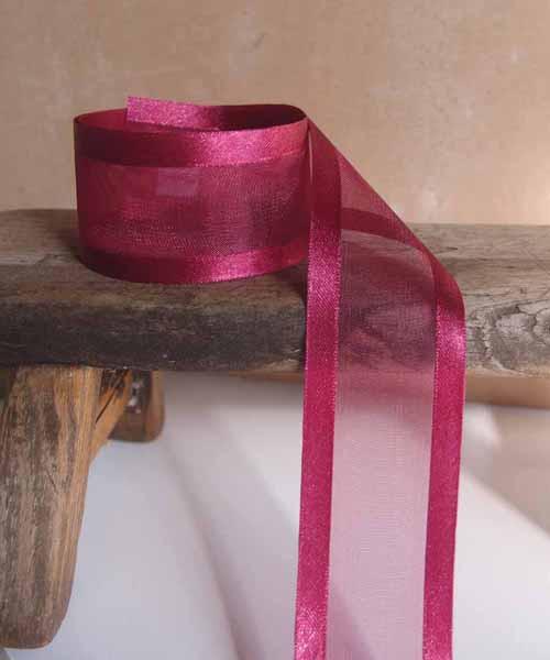 Burgundy Sheer Ribbon with Satin Edge (6 sizes)