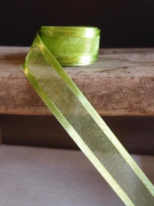 Kiwi Sheer Ribbon with Satin Edge (2 sizes)