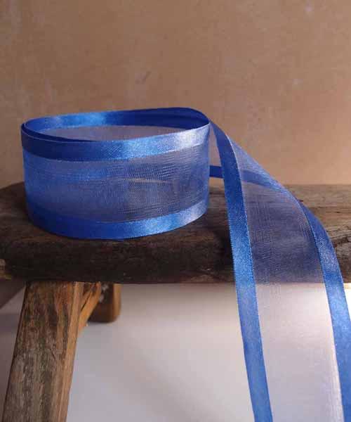 Royal Blue Sheer Ribbon with Satin Edge (6 sizes)