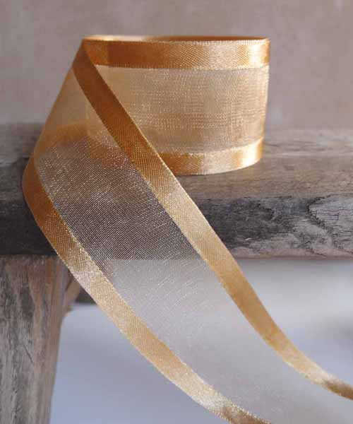 Gold Sheer Ribbon with Satin Edge (6 sizes)