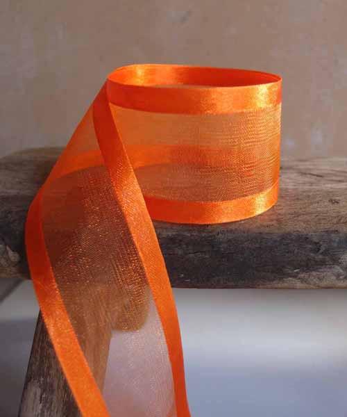 Orange Sheer Ribbon with Satin Edge (2 sizes)