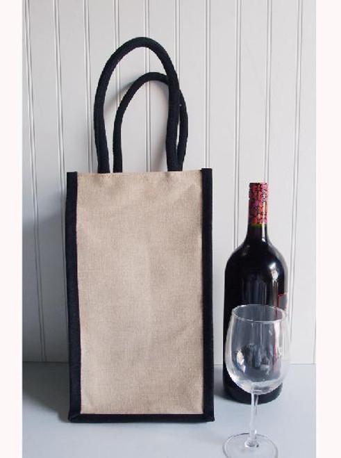 "8""x8""x14""Jute Blend Wine Tote - 4 Bottle -Black Trim"