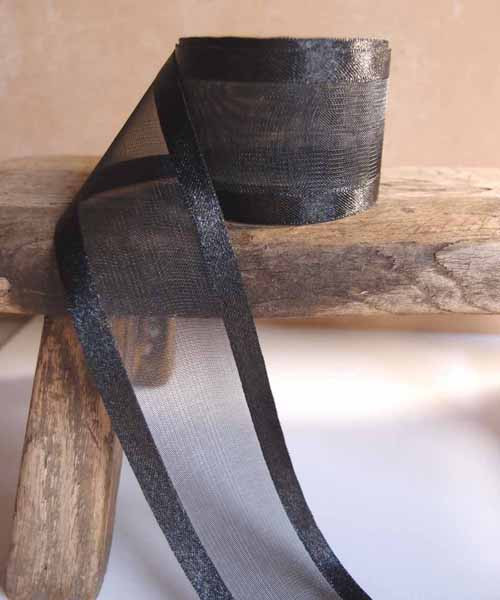 Black Sheer Ribbon with Satin Edge (5 sizes)