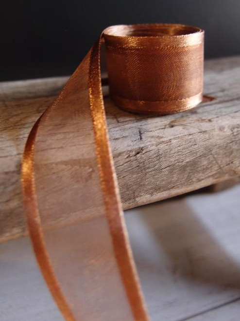 Chocolate Sheer Ribbon with Satin Edge (4 sizes)