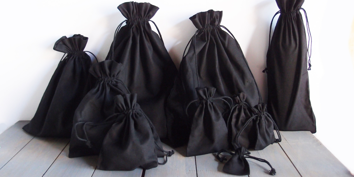 Wholesale Black Cotton Drawstring Bags