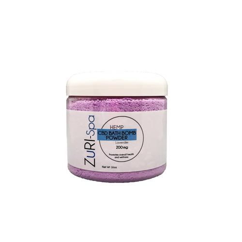 zuri cbd bath powder jar lavender 200mg hemp