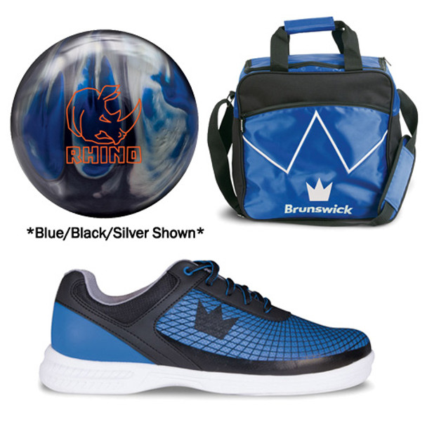Brunswick Mens Rhino Bowling Ball, Bag and Shoes Package
