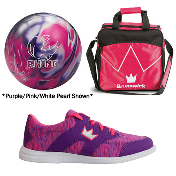 Brunswick Womens Rhino Bowling Ball, Bag and Shoes Package