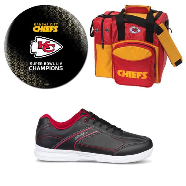 Super Bowl 54 Kansas City Chiefs Ball (Black), Bag and Shoes Mens Package