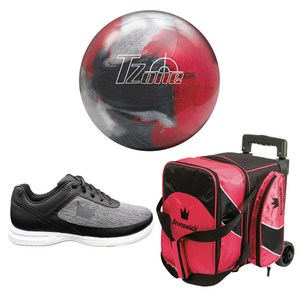 Brunswick Mens Target Zone Bowling Ball, Single Roller Bag and Shoes Package