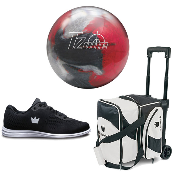 Brunswick Womens Target Zone Bowling Ball, Single Roller Bag and Shoes Package