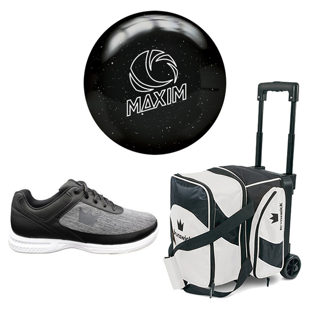 Ebonite Mens Maxim Bowling Ball, Single Roller Bag and Shoes Package