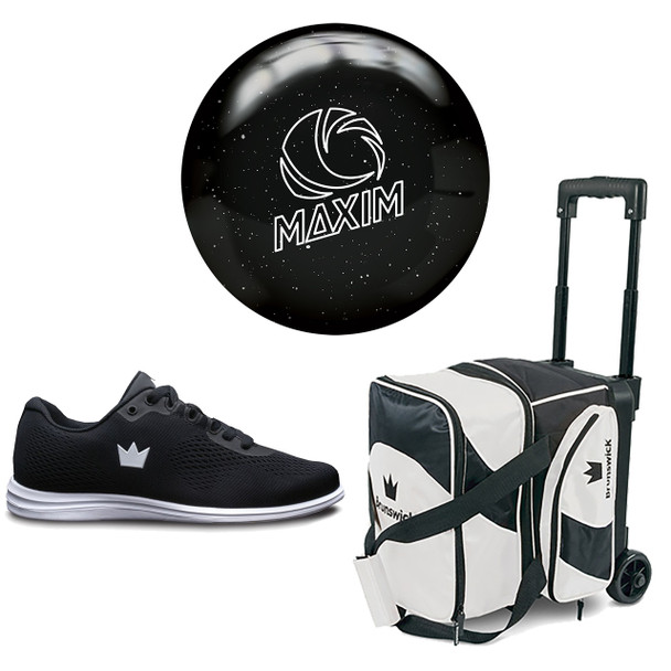 Ebonite Womens Maxim Bowling Ball, Single Roller Bag and Shoes Package