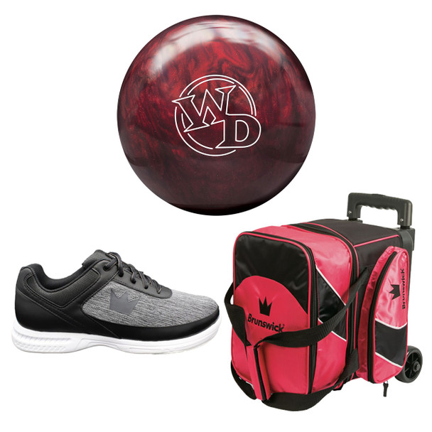 Columbia 300 Mens White Dot Bowling Ball, Single Roller Bag and Shoes Package