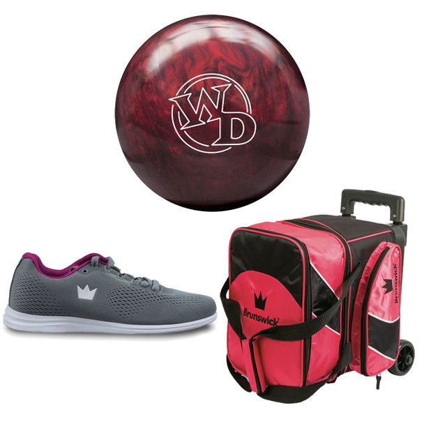 Columbia 300 Womens White Dot Bowling Ball, Single Roller Bag and Shoes Package