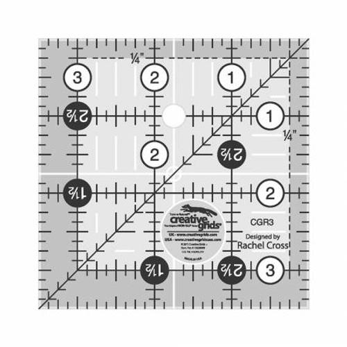 """Creative Grids Quilting Ruler 3 1/2"""" Squ"""
