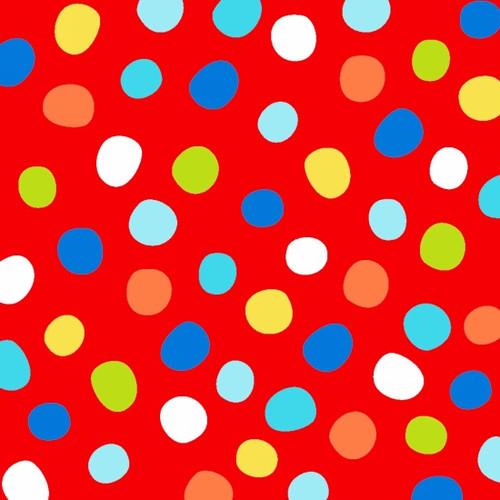 Swinging Safari - Colored Dots On Red