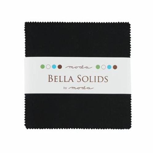 "Bella Solids - Charm Packs 5"" Square Black"