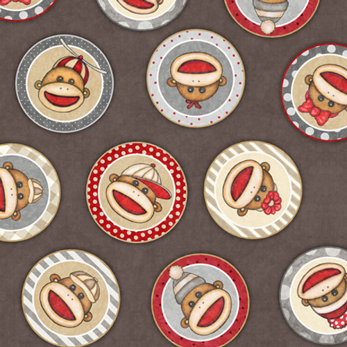Monkey Biz-Sock Monkey Circles-Taupe 1649-28367-KJ