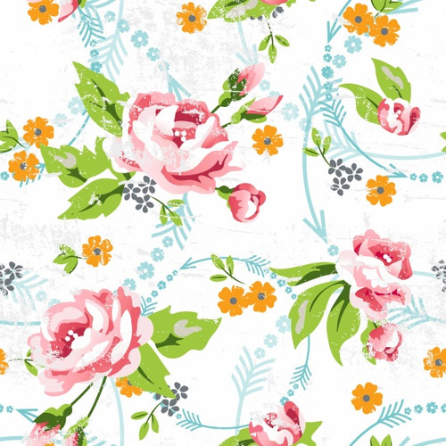 Roses & Arrows - Large Floral White
