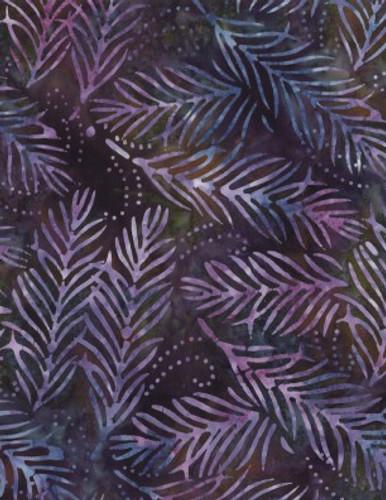 Wilmington Batiks - Large Leaf Blue/Purple
