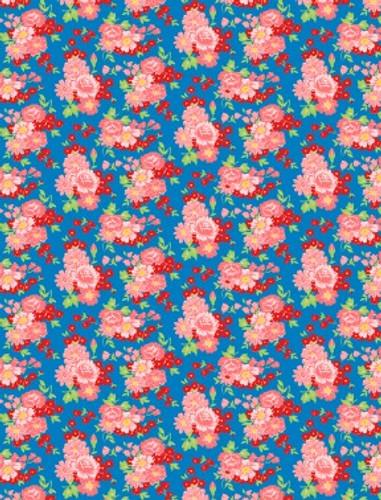 Amorette - Large Floral on Blue