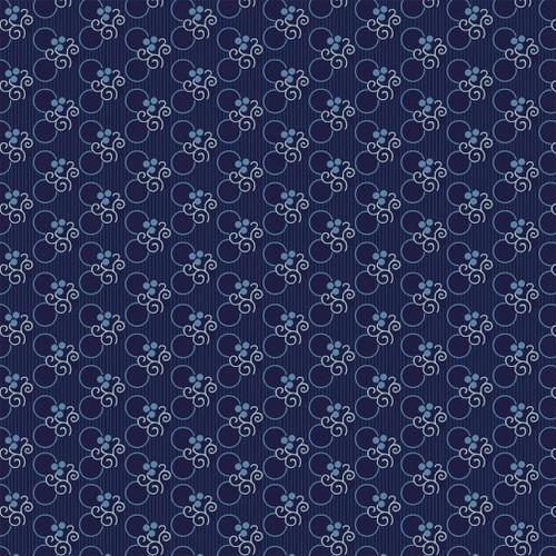 Indigo Cottage - Circle Floral Dark Blue