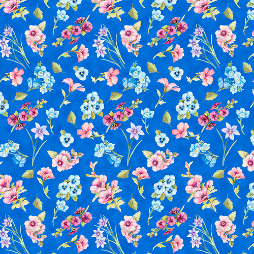 Papillon Parade - Medium Blue Small Floral