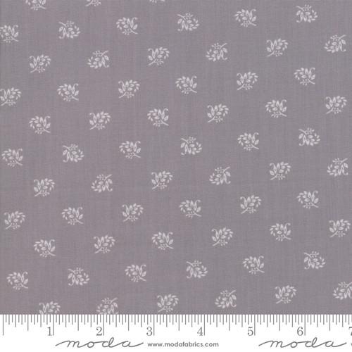 White Clover Flower on Ash Grey Milk Urban Farmhouse Fabric