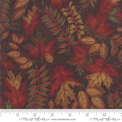 Fern Leaves On Brown Country Charm Fabric
