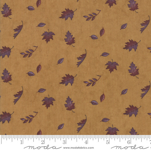 Purple and Brown Falling Leaves on Gold