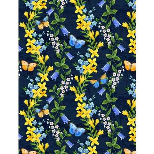 Wilmington Prints Madison Floral and Butterflies on Navy Fabric