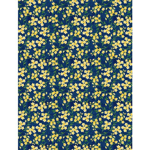 Madison -   Small Yellow Flowers on Navy