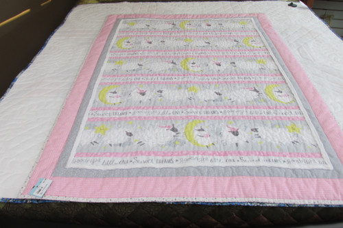 Pink Sheep Crib Quilt - 39 by 40