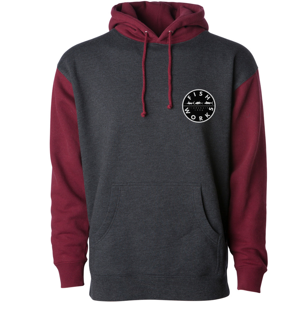New Original Hooded Fleece - Charcoal Heather Burgandy