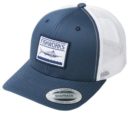 BT  Blue Marlin Snapback Trucker - Navy & White Mesh