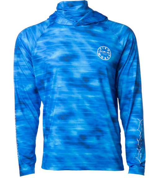 Rays L/S Hooded with Face Shield Sunshirt - Blue Camo